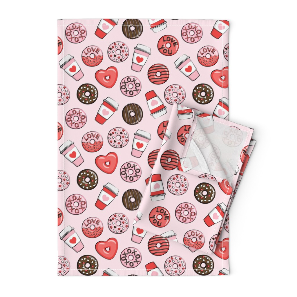 Orpington Tea Towels featuring donuts and coffee - valentines day - red, pink, & chocolate on pink by littlearrowdesign