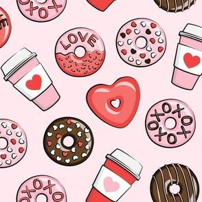 donuts and coffee - valentines day - red, pink, & chocolate on pink
