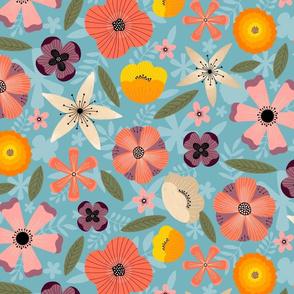 Bright Summer Flowers on Blue