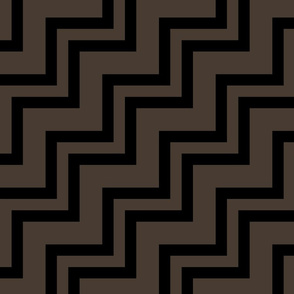 Big Small Size Taupe Brown Black Color Stairs Chevron Zig Zag Pattern