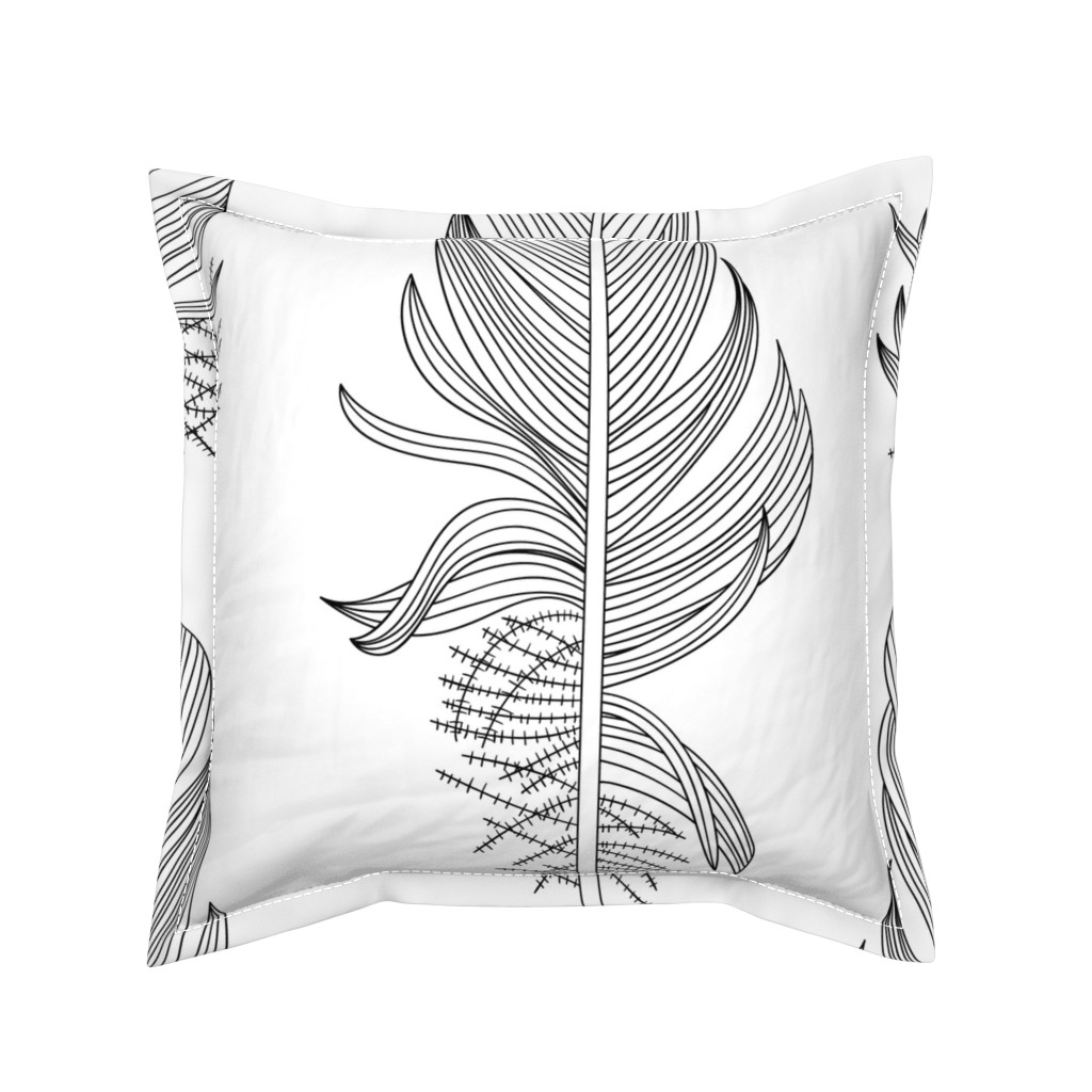 Serama Throw Pillow featuring Black and White Feathers Extra Large by marketa_stengl