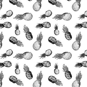 Mini black pineapple || watercolor scandi tropical pattern