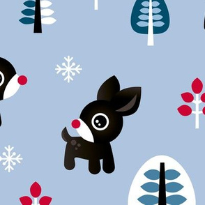Christmas time reindeer winter wonderland with forest trees and snow flakes brown blue boys JUMBO