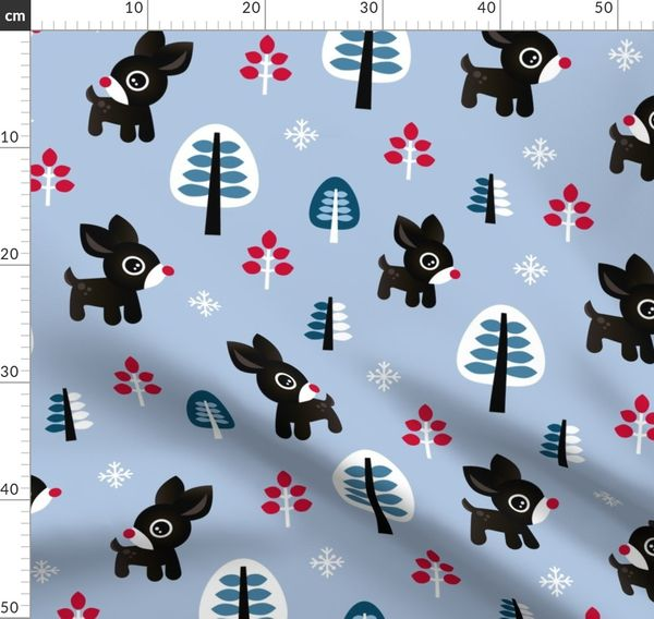 Snowflakes Winter Snow Christmas Kids Blue And Spoonflower Fabric by the Yard