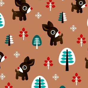 Christmas time reindeer winter wonderland with forest trees and snow flakes brown blue boys
