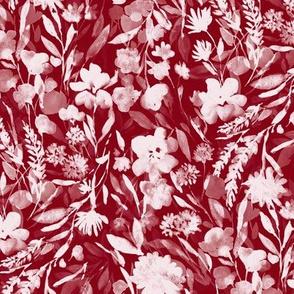upside floral winter red