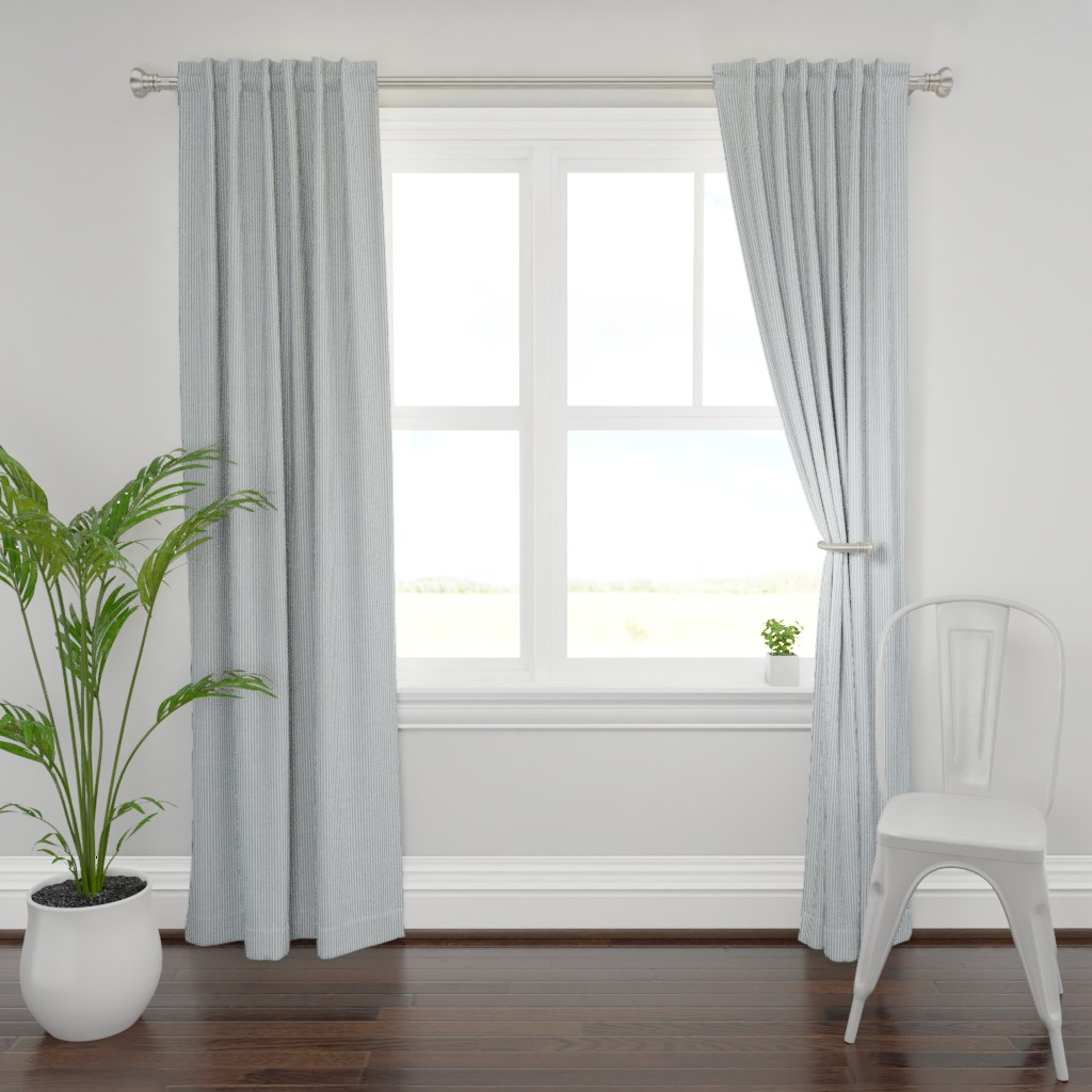 Plymouth Curtain Panel featuring Faded French Stripe - Blue by kristopherk
