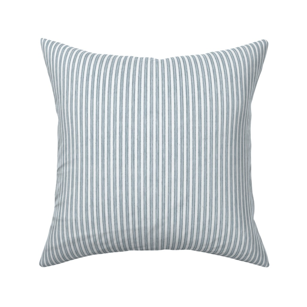 Catalan Throw Pillow featuring Faded French Stripe - Blue by kristopher_k