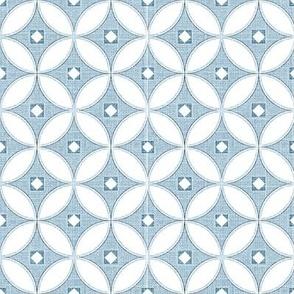 Mid century modern textured slate blue circle lock pattern, modern chinoiserie mini