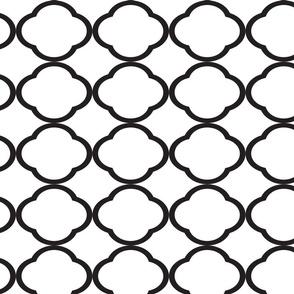 Black Quaterfoil Pattern White