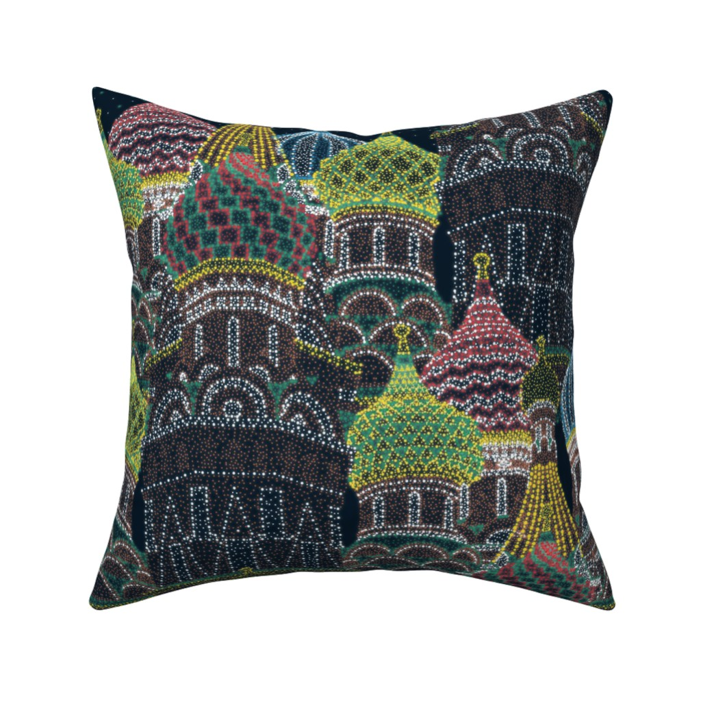 Catalan Throw Pillow featuring Moscow in Holiday Lights  by elliottdesignfactory