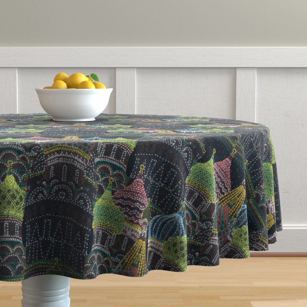 Malay Round Tablecloth featuring Moscow in Holiday Lights  by elliottdesignfactory