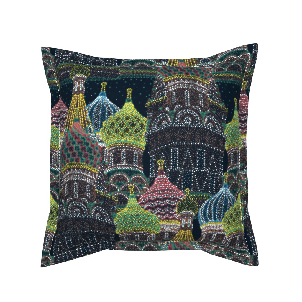 Serama Throw Pillow featuring Moscow in Holiday Lights  by elliottdesignfactory
