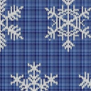 Fair Isle Snowflakes On Plaid Blue
