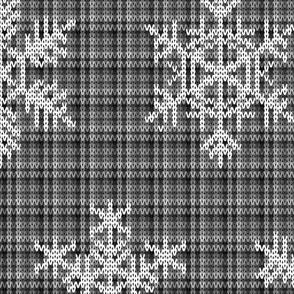 Fair Isle Snowflakes On Plaid Black