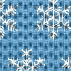 Fair Isle Snowflakes On Plaid Light Blue