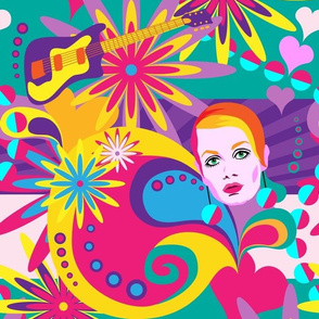 sixties colour explosion: flowers and music - turquoise