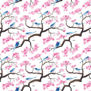 cherry blossom birds small scale