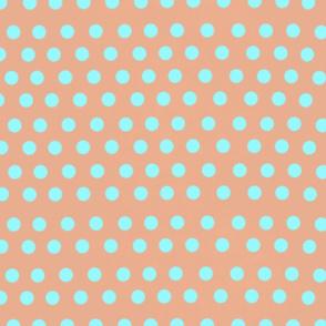 salmon and blue polka dots