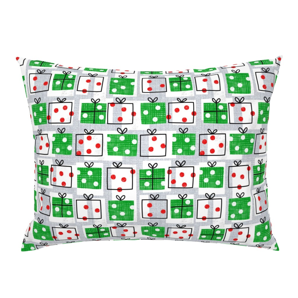 Campine Pillow Sham featuring dotty boxes-Christmas presents by ottomanbrim
