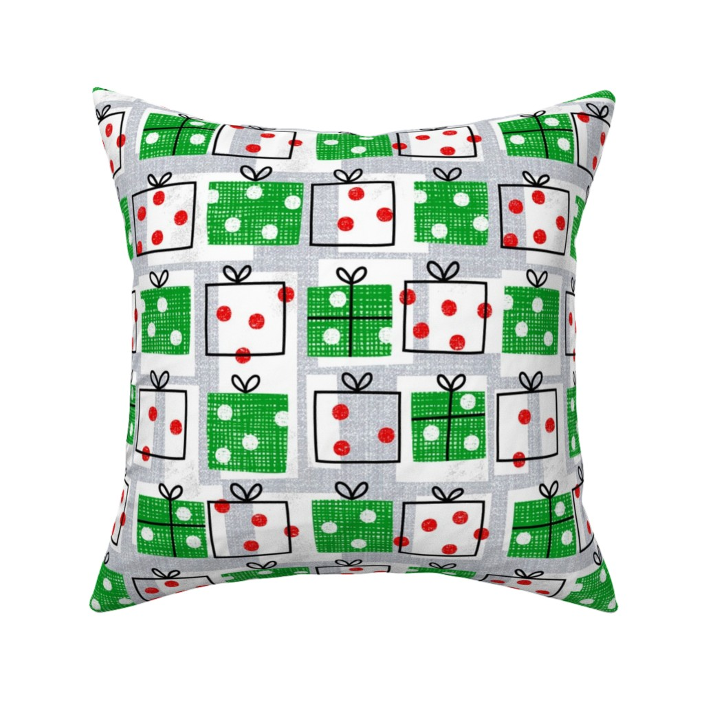 Catalan Throw Pillow featuring dotty boxes-Christmas presents by ottomanbrim