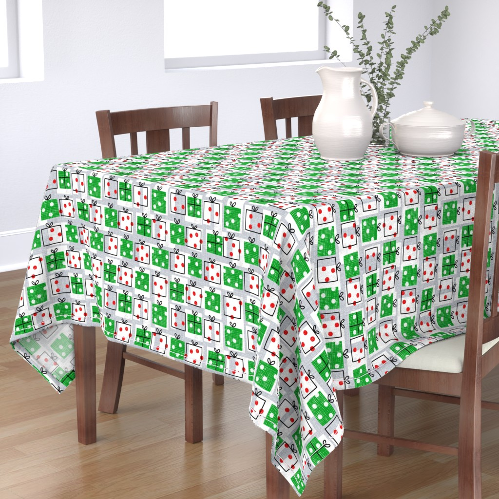 Bantam Rectangular Tablecloth featuring dotty boxes-Christmas presents by ottomanbrim