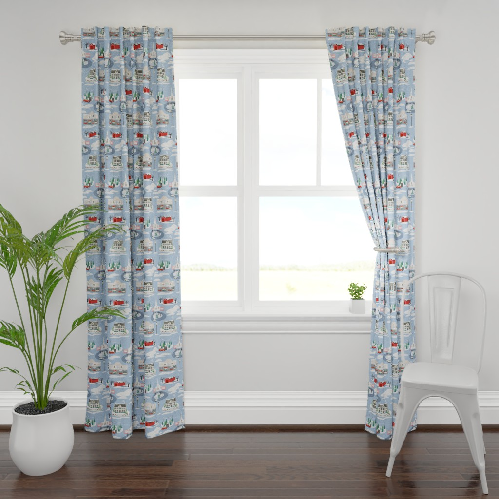 Plymouth Curtain Panel featuring Christmas in New Hampshire by nikijin