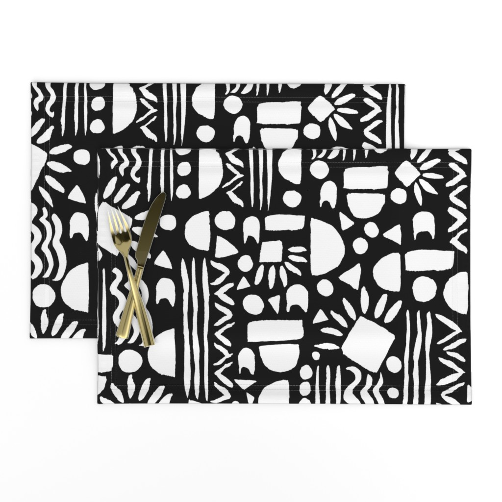 Lamona Cloth Placemats featuring  Geometric gouache Black and White by jaanahalme
