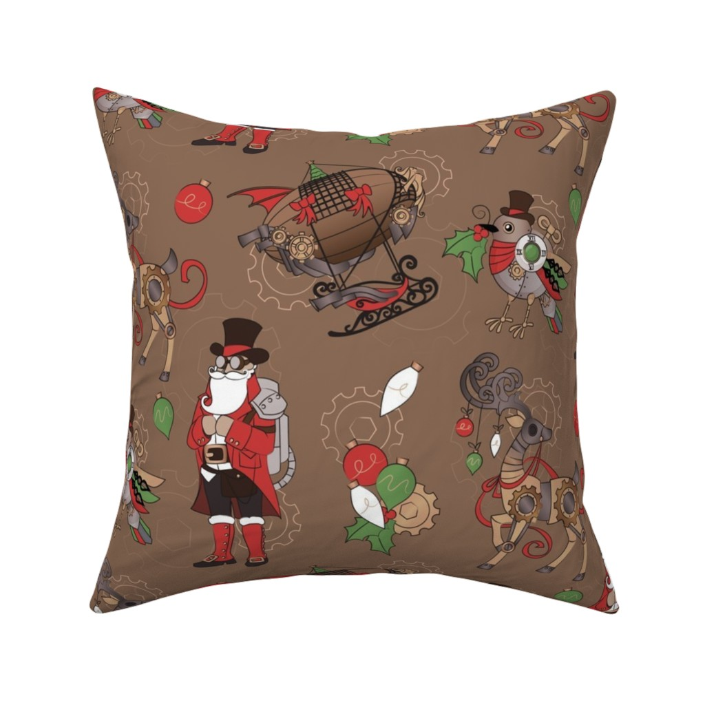 Catalan Throw Pillow featuring Steampunk Christmas by urban_threads