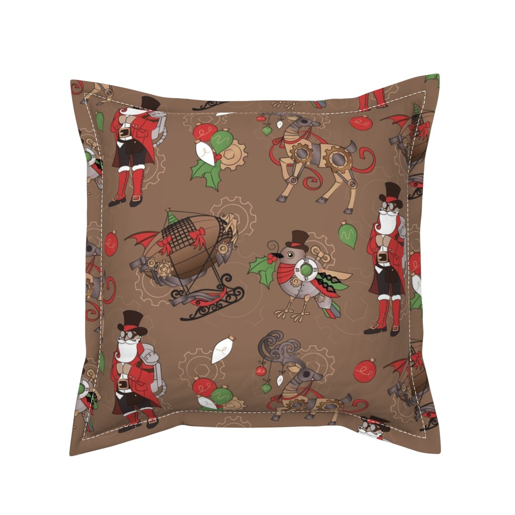 Serama Throw Pillow featuring Steampunk Christmas by urban_threads