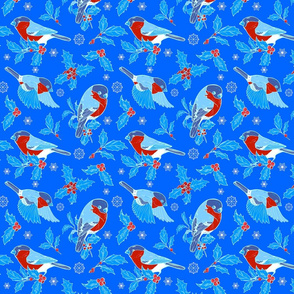 Bullfinches and holly