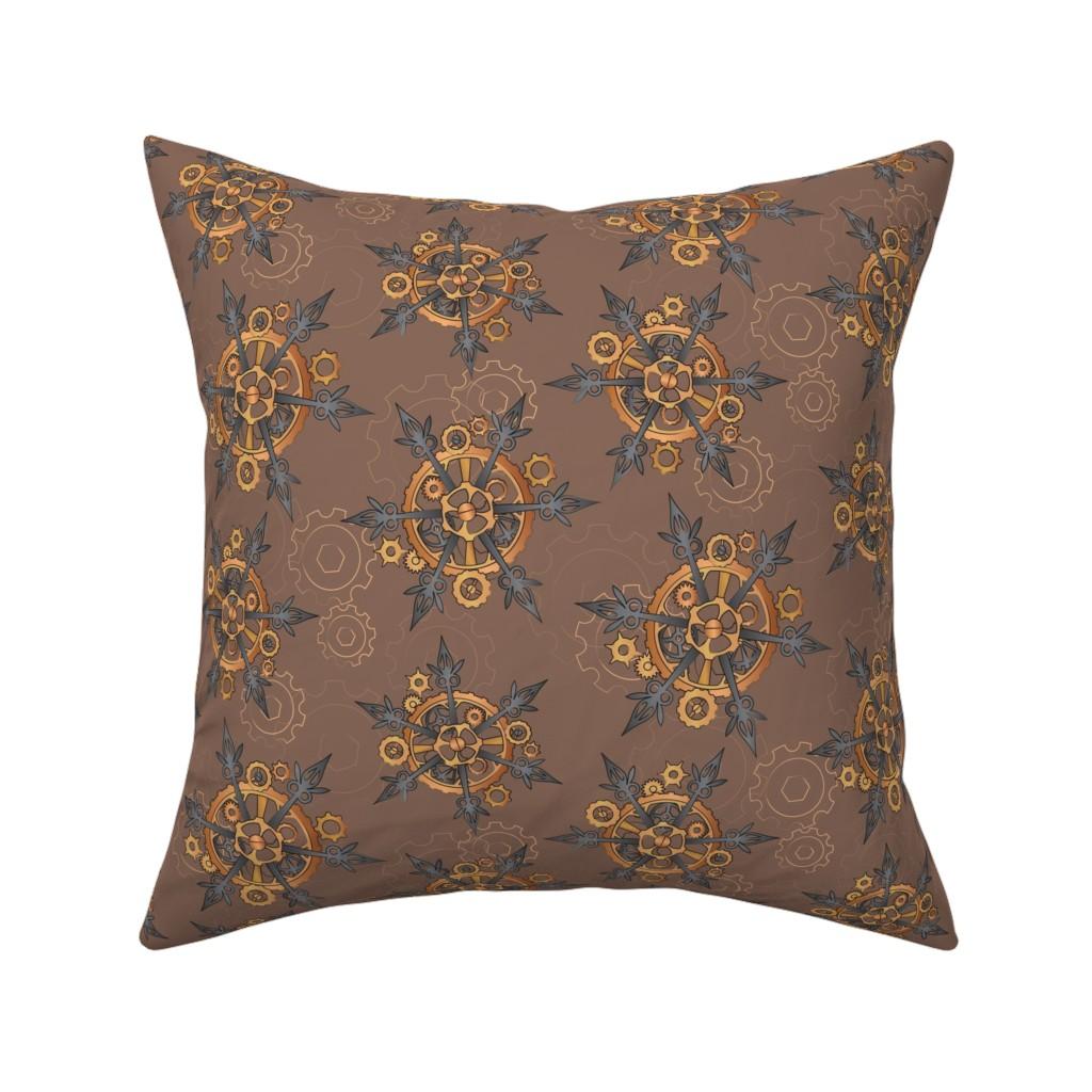 Catalan Throw Pillow featuring Steampunk Snowflakes by urban_threads