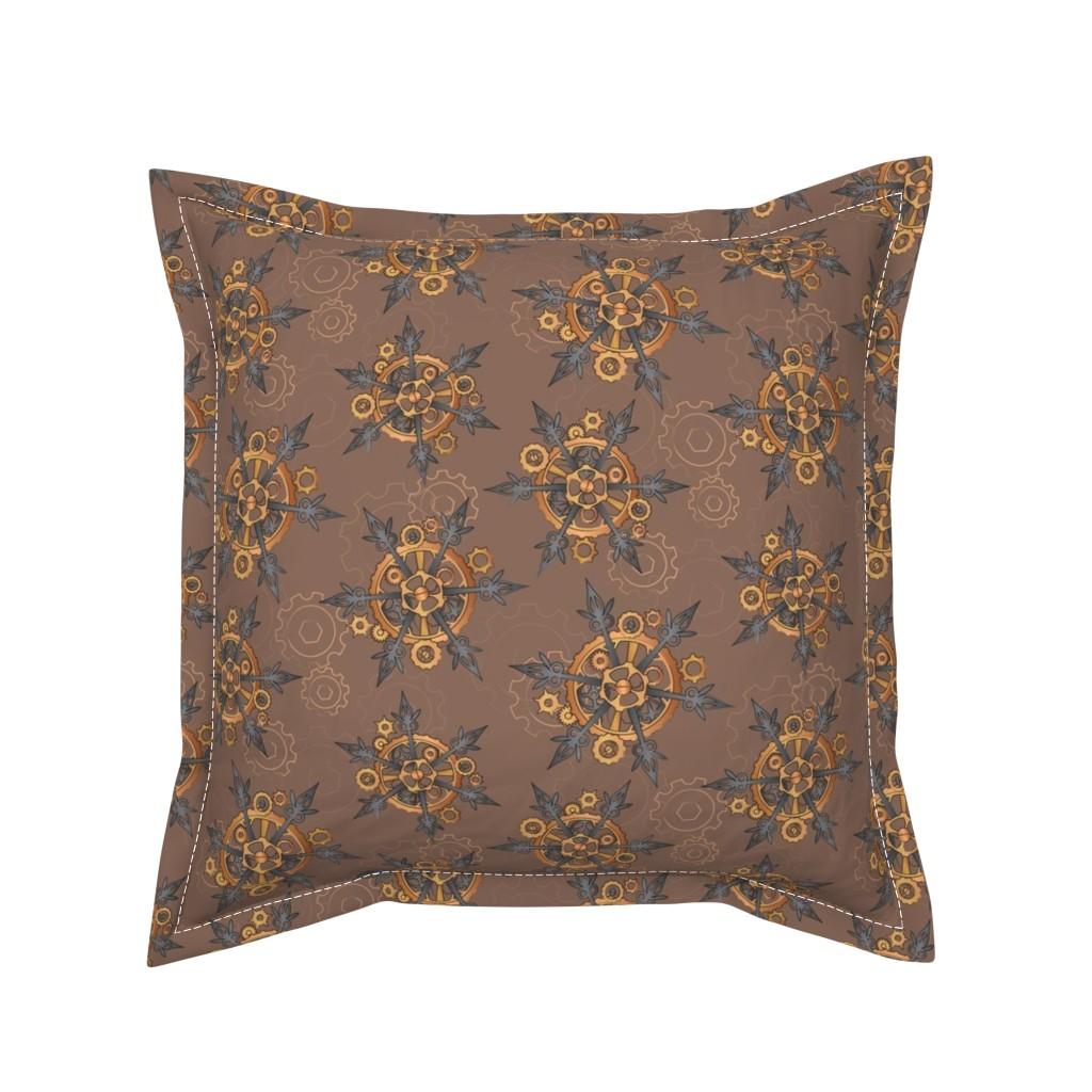 Serama Throw Pillow featuring Steampunk Snowflakes by urban_threads
