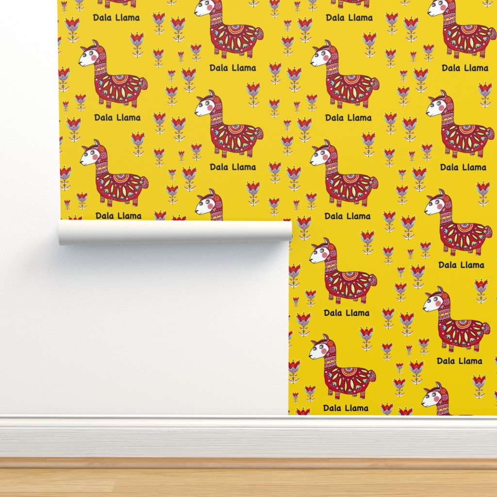 Isobar Durable Wallpaper featuring Dala Llama, large scale, colorful yellow red light blue black white by amy_g
