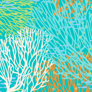Colorful Coral and Fish on Teal Blue