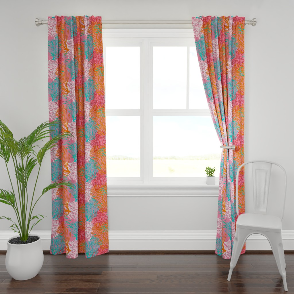 Plymouth Curtain Panel featuring Colorful Coral & Fish on Bright Pink by lauriekentdesigns