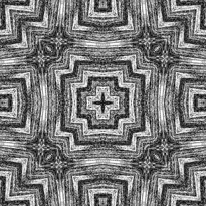 Bargello in black and white geo.