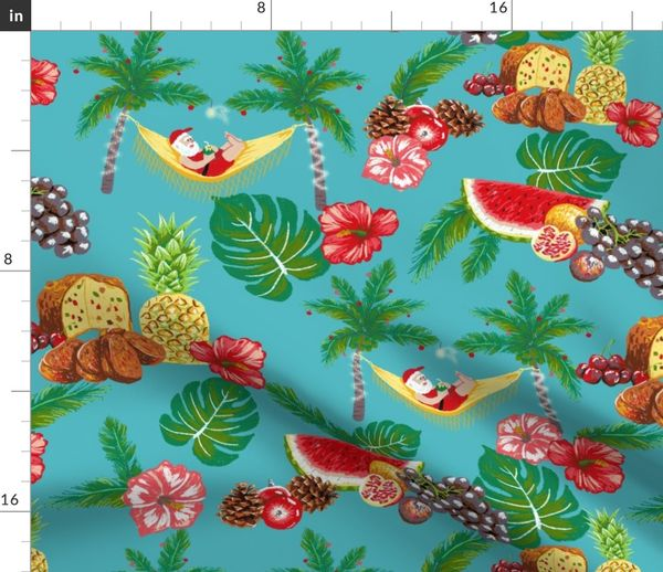 Tropical Christmas.Fabric By The Yard Tropical Christmas
