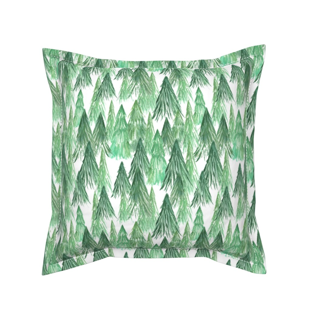Serama Throw Pillow featuring Watercolor Pine Tree Forest by arthousewife