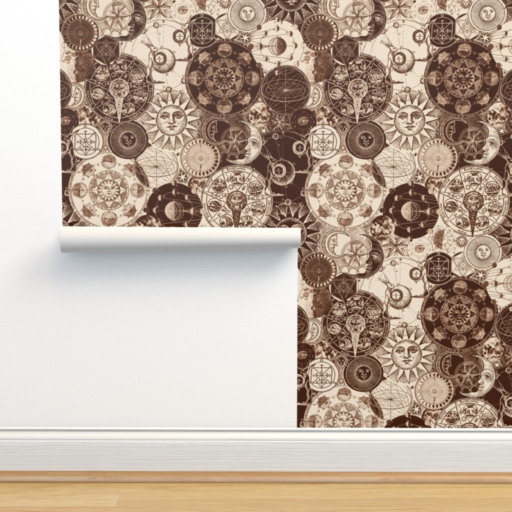 Isobar Durable Wallpaper featuring Alchemical Astrology Sepia by xoxotique