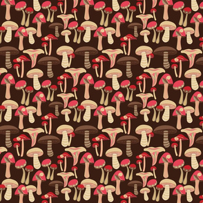 Mushrooms brown background