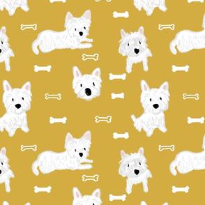 Westie dog bones in mustard-ed