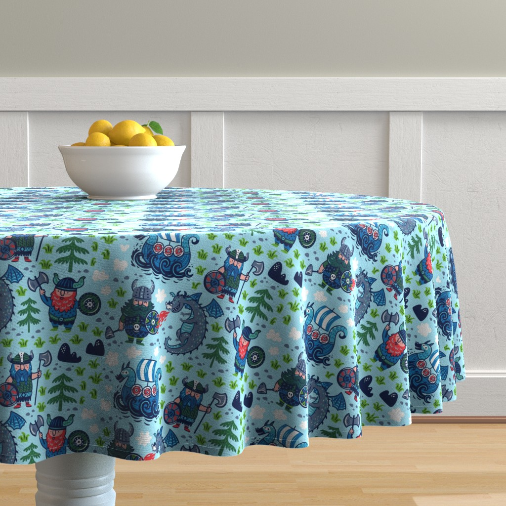 Malay Round Tablecloth featuring Vikings for boy by penguinhouse