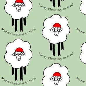 Merry Christmas To Ewe - sheep with santa hat