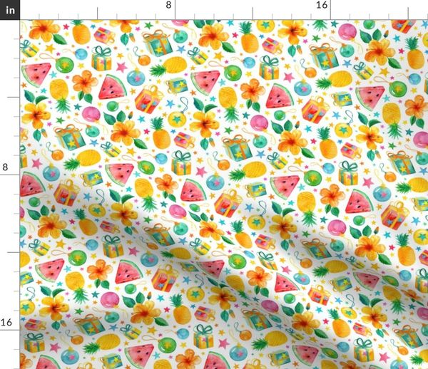Tropical Christmas.Fabric By The Yard Southern Summer Tropical Christmas On Fresh White Small Print