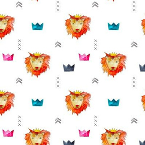 Baby lion king • watercolor pattern