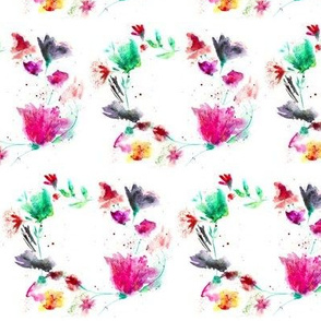 Watercolor floral pattern of wreaths