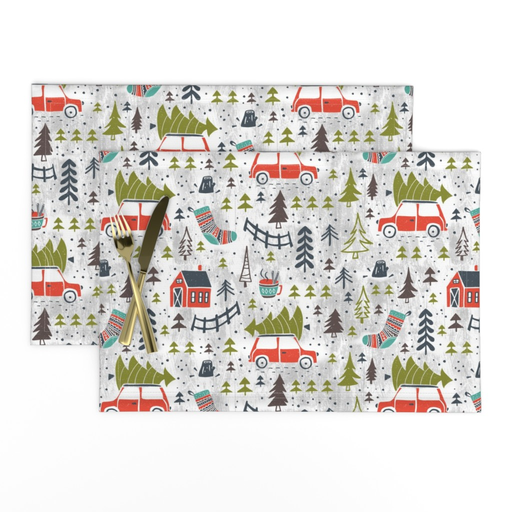 Lamona Cloth Placemats featuring Home For The Holidays - Grey by heatherdutton