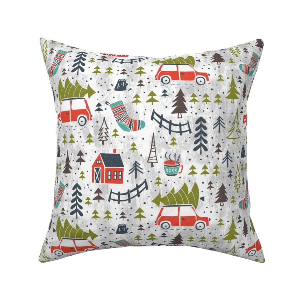 Catalan Throw Pillow featuring Home For The Holidays - Grey by heatherdutton