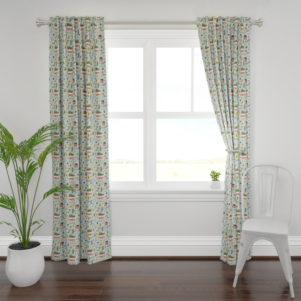 Plymouth Curtain Panel featuring Home For The Holidays - Mint Green by heatherdutton